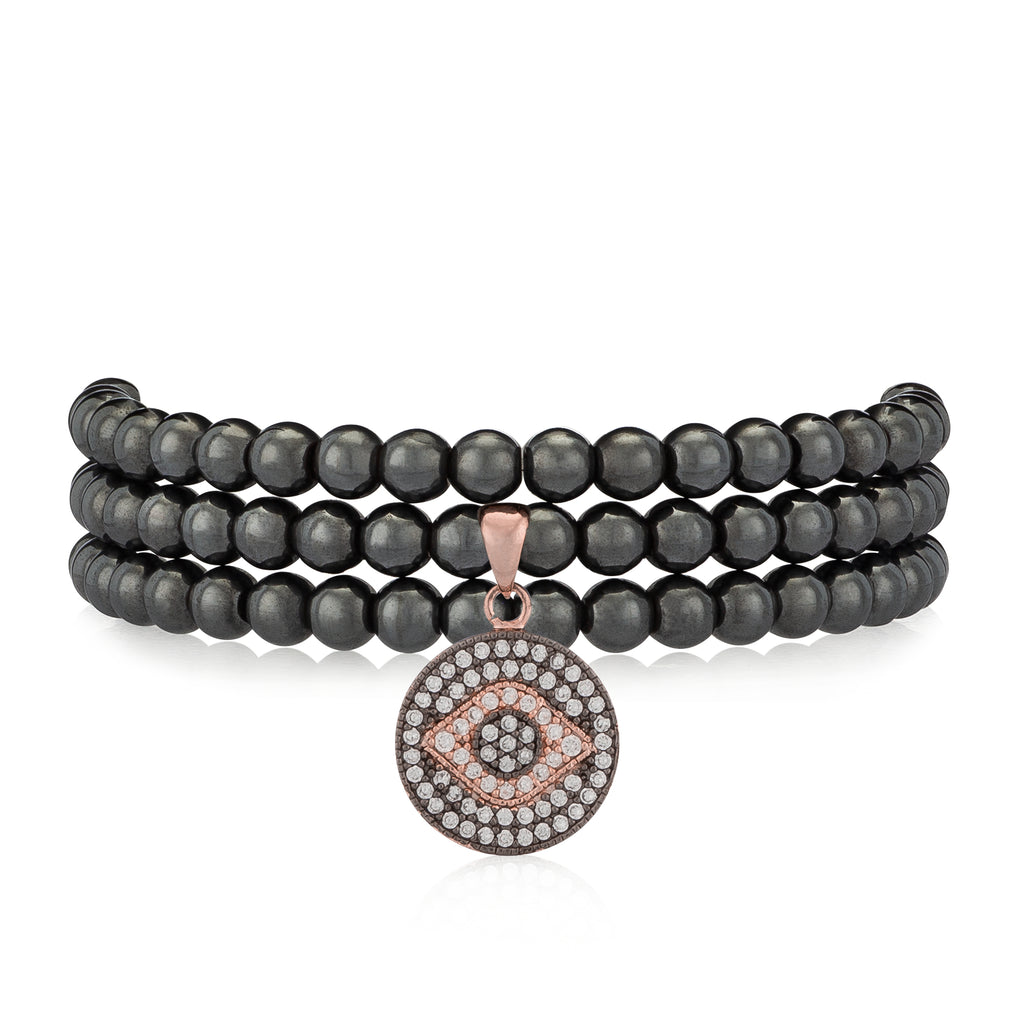 Gunmetal Hematite & Rose Evil Eye Triple Wrap Bracelet
