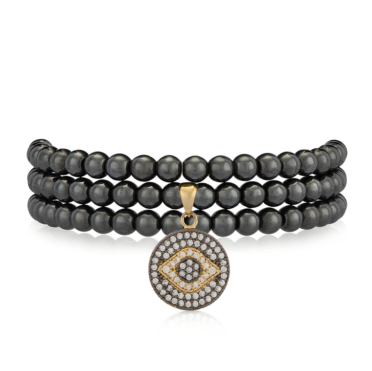 Gunmetal Hematite & Yellow Evil Eye Triple Wrap Bracelet