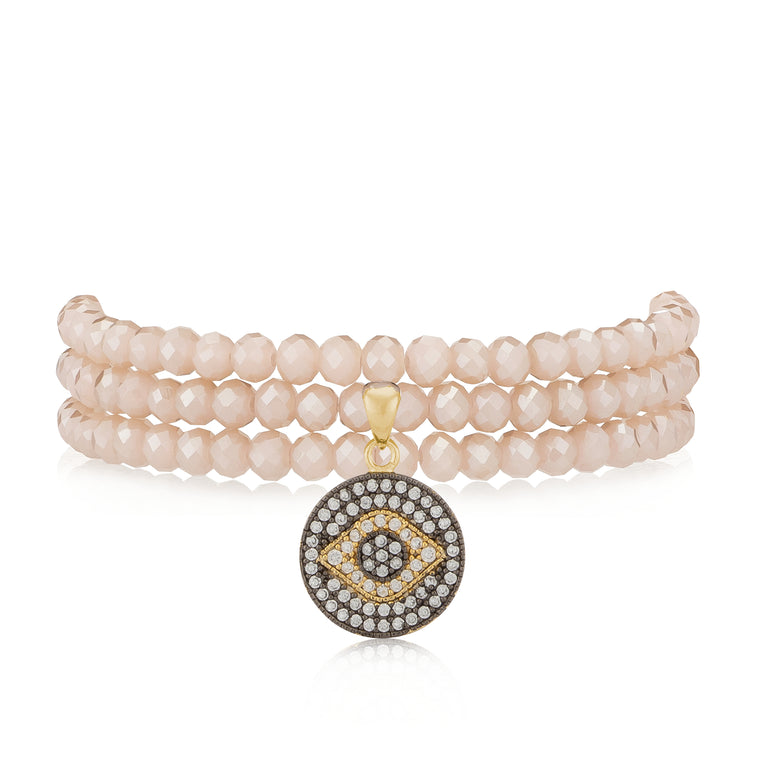 Pink Rosé Crystal & Yellow Evil Eye Wrap Bracelet