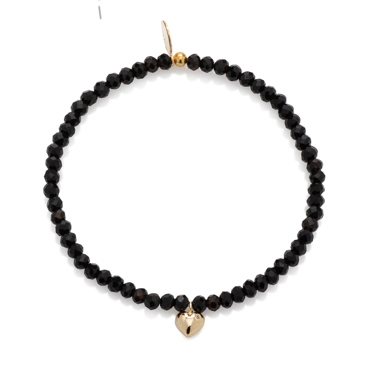 BLACK CRYSTAL & YELLOW CZ HEART CHARM BEADED BRACELET