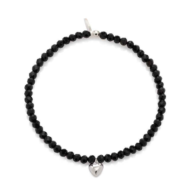 BLACK CRYSTAL & SILVER CZ HEART CHARM BEADED BRACELET