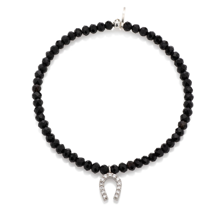 Black Crystal & Silver CZ Horseshoe Charm Beaded Bracelet