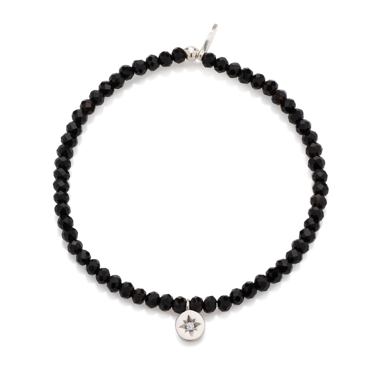 Black Crystal & Satin Silver CZ Star Charm Beaded Bracelet