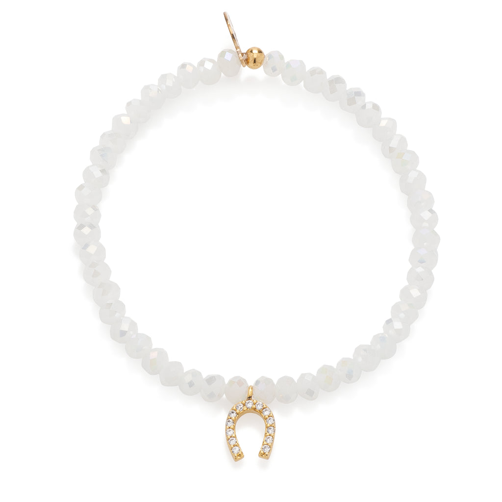 Mystic White Crystal & Yellow CZ Horseshoe Beaded Bracelet
