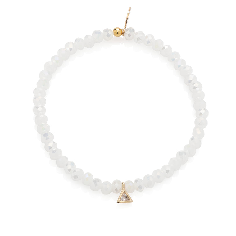 Mystic White Crystal & Yellow CZ Triangle Beaded Bracelet