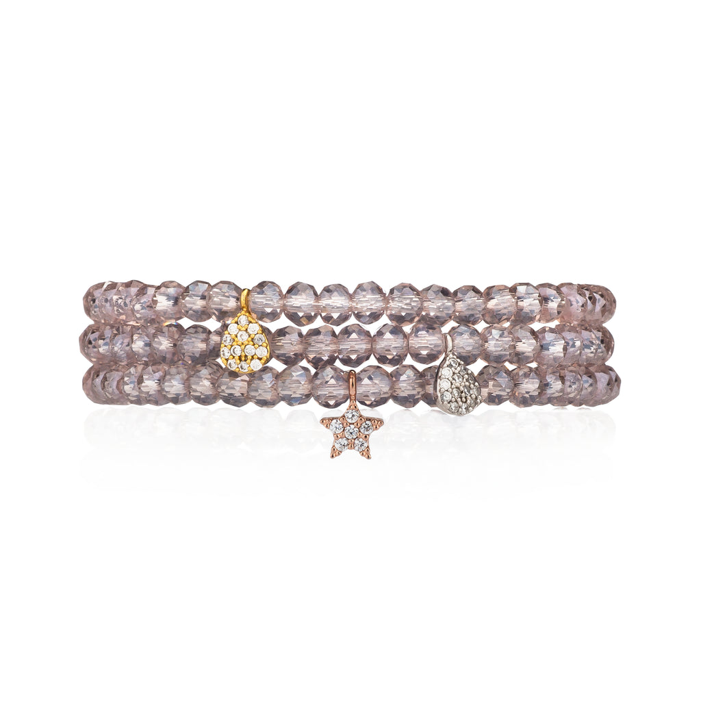 Sheer Purple Crystal & Rose Pave CZ Star Beaded Bracelet