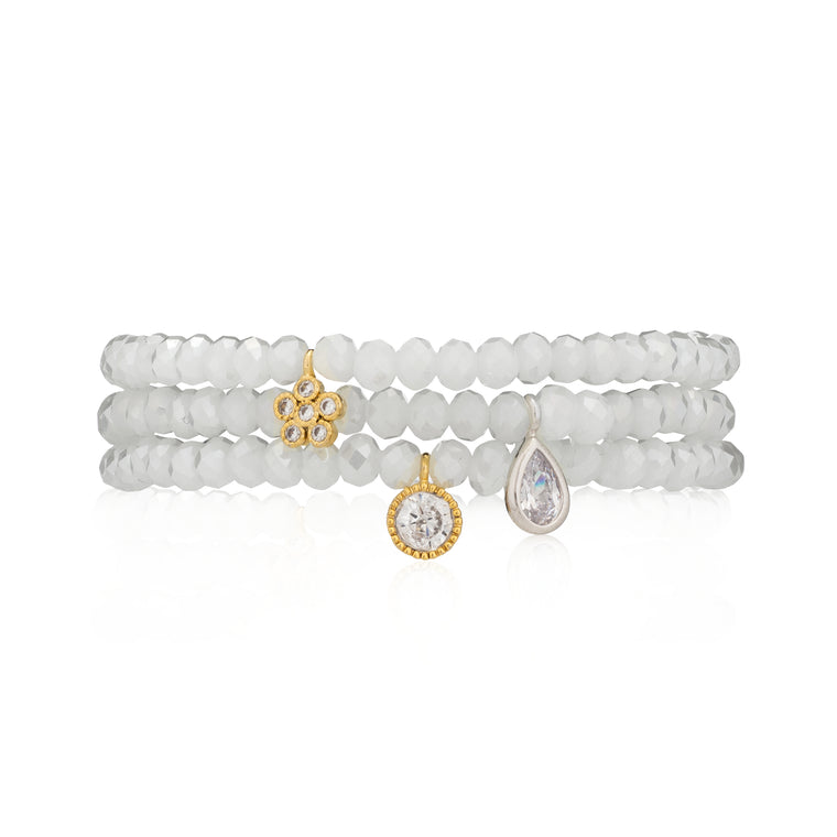 Mystic White Crystal & Silver CZ Pear Beaded Bracelet