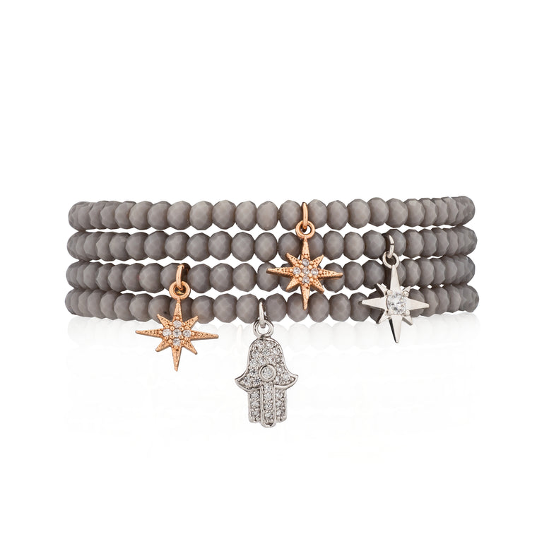 Gray Crystal & Silver CZ Starburst Beaded Bracelet