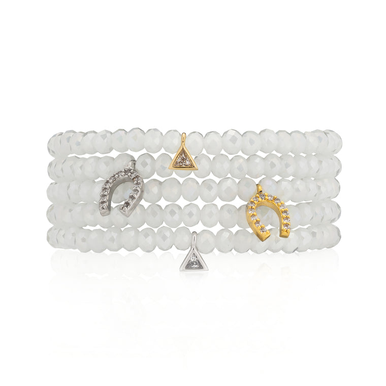 Mystic White Crystal & Silver CZ Horseshoe Beaded Bracelet