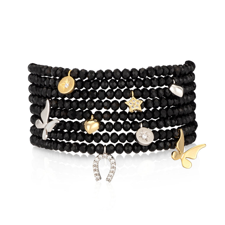 Black Crystal & Yellow Butterfly Charm Beaded Bracelet