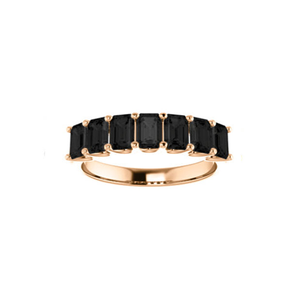 Black Onyx Medium Cut Rose Gold Ring