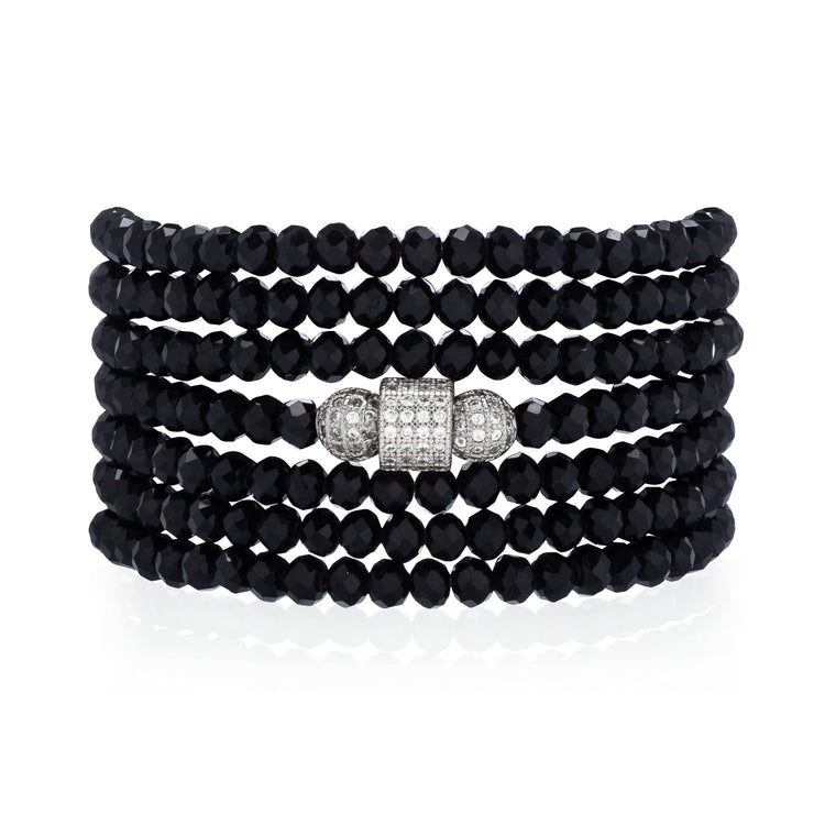 Black Crystal Seven Wrap Cubic Zirconia Silver Bracelet & Necklace