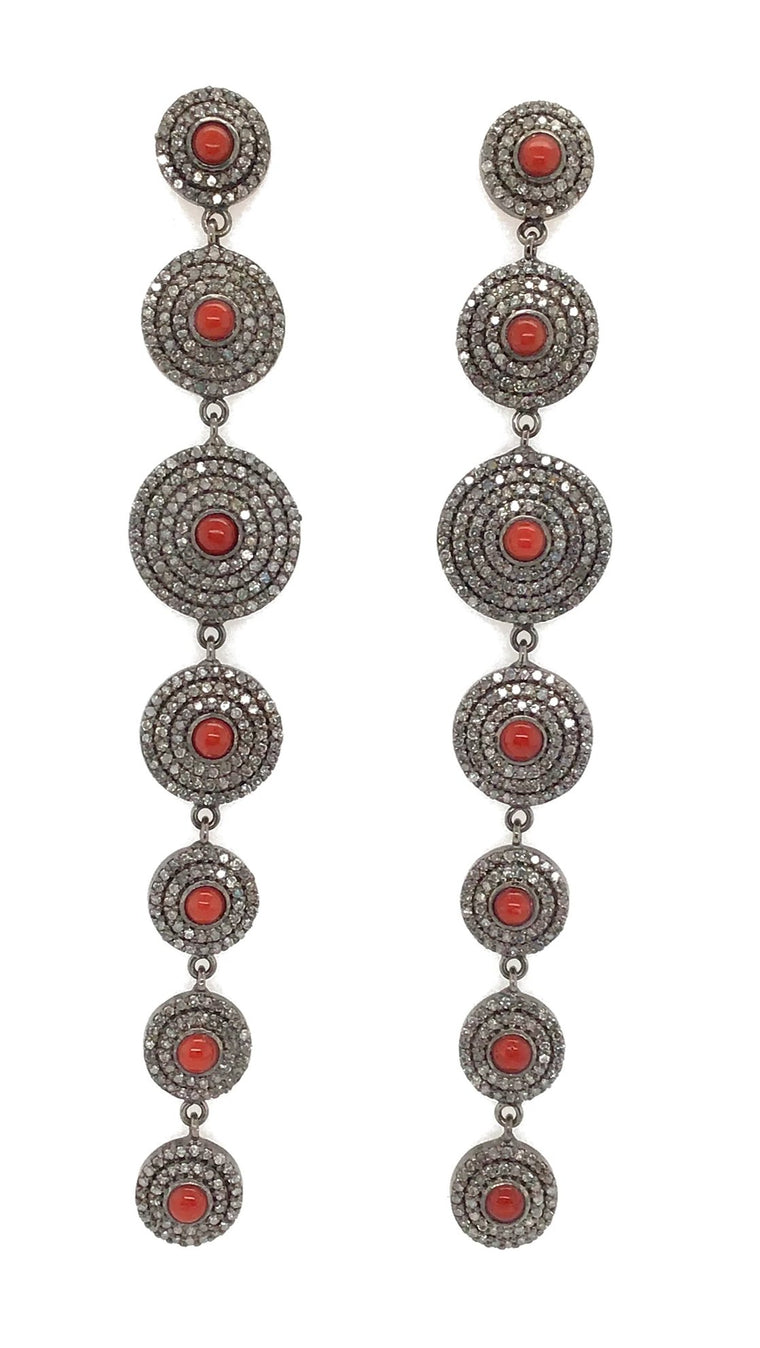 BLACK RHODIUM & DIAMOND CARNELIAN DUSTER EARRINGS