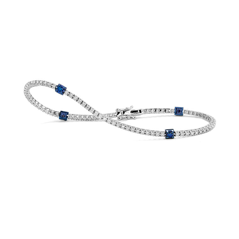 White Gold Diamond and Blue Diamond Accent Tennis Bracelet