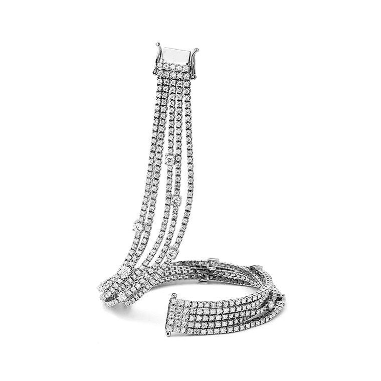 White Gold Diamond Five Row Tennis Bracelet