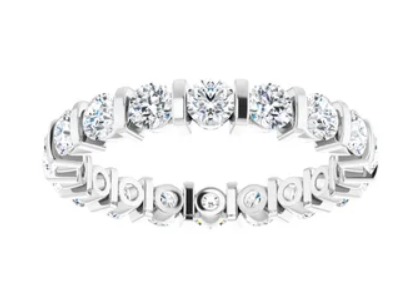 Cubic Zirconia Round Shared Prong White Gold Ring