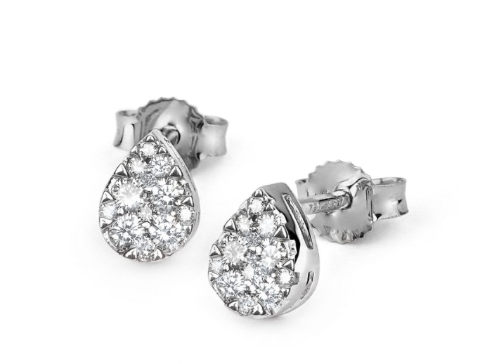 Diamond Pear Stud Earrings