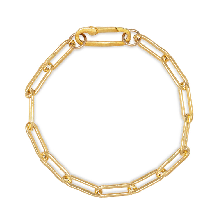 Yellow Gold Filled Chain Paperclip Clasp Bracelet