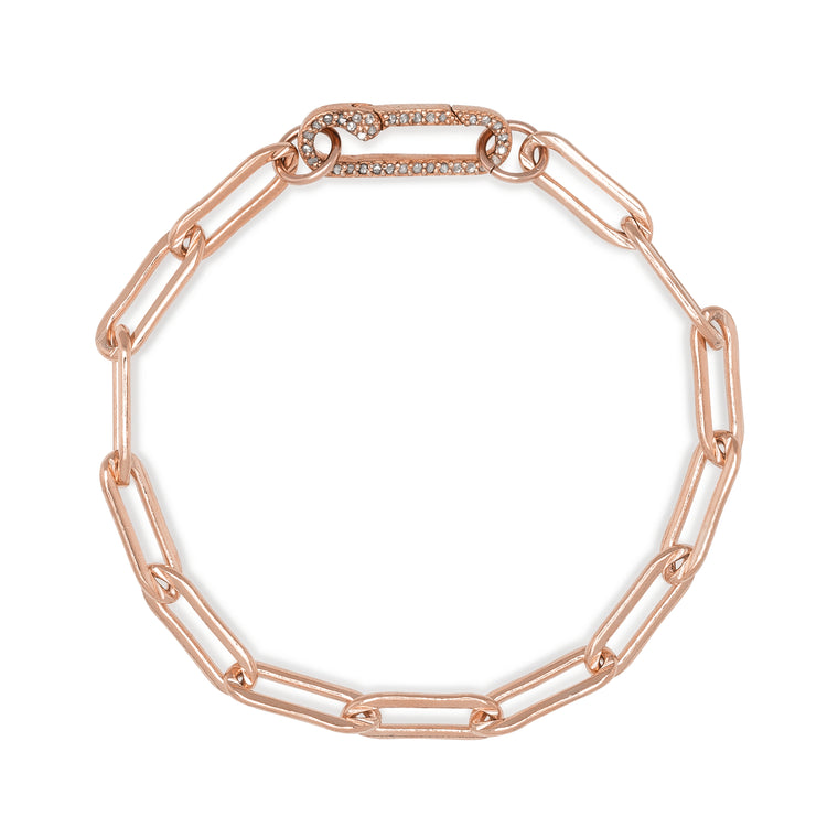 Rose Gold Filled Chain and Diamond Paperclip Clasp Bracelet