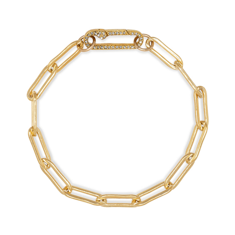 Yellow Gold Filled Chain and Diamond Paperclip Clasp Bracelet