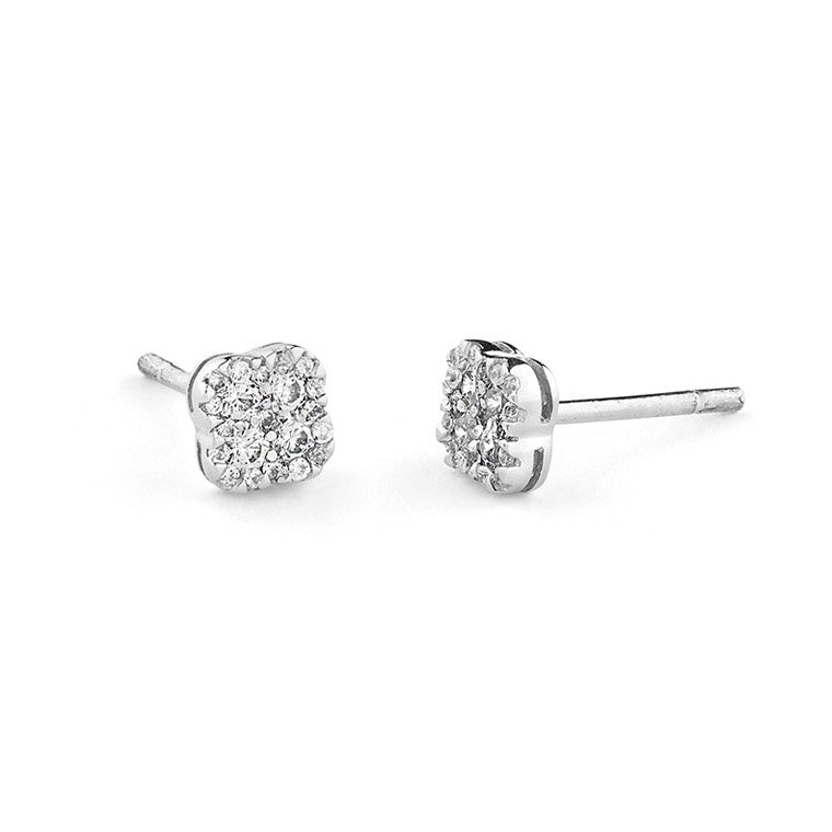 White Gold Diamond Clover Studs
