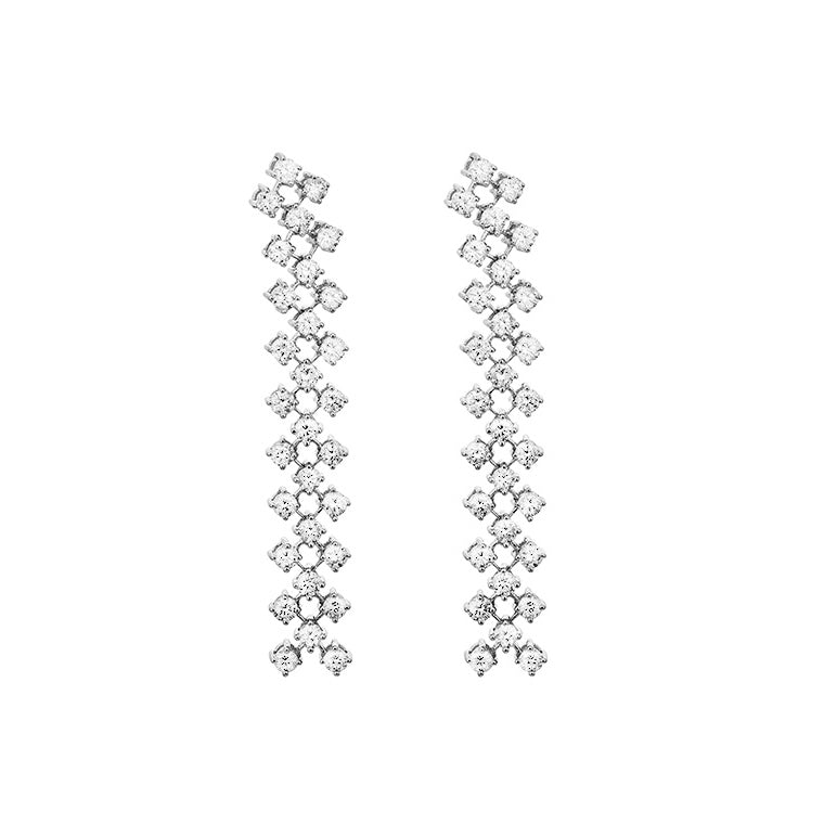 White Gold and Diamond Triple Row Drop Earrings