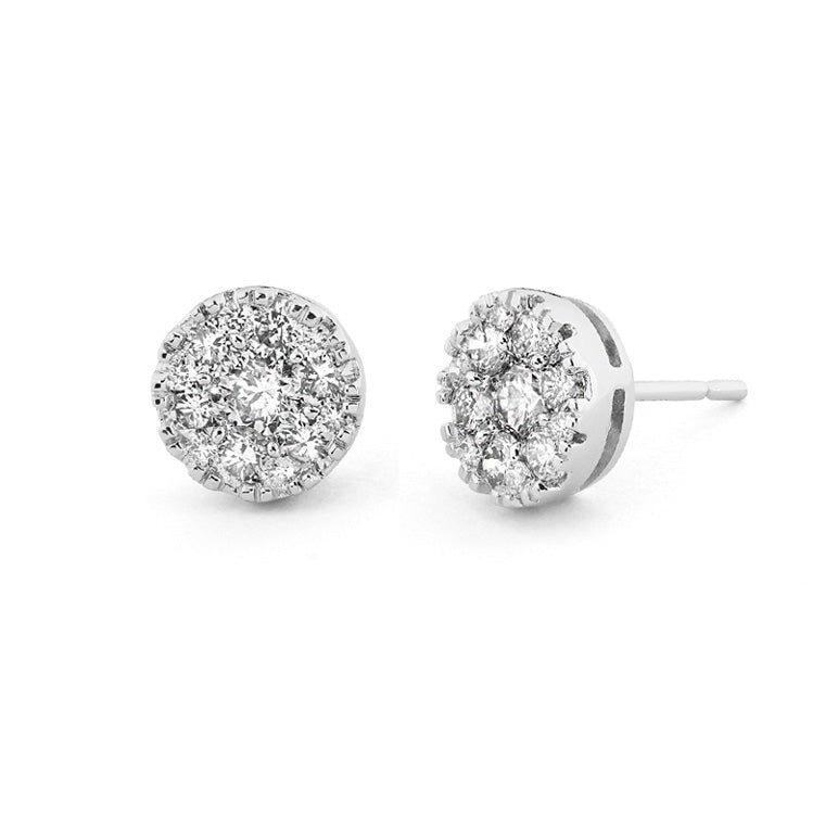 White Gold Diamond Honeycomb Stud Earrings
