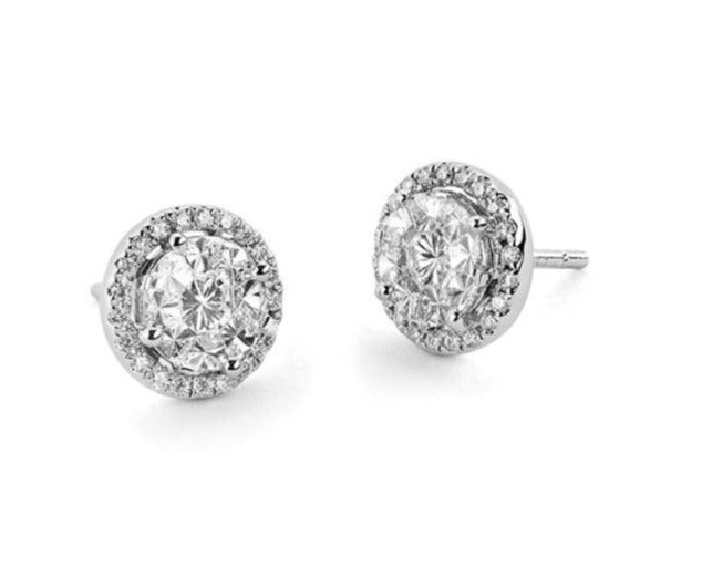 White Gold Diamond Halo Stud Earrings