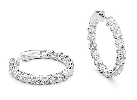 White Gold and Diamond Classic Round Lock 5.25 Carat Hoops