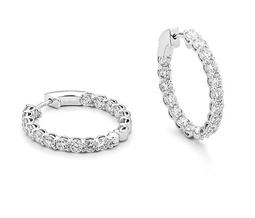 White Gold and Diamond Classic Oval Lock 3.15 Carat Hoops