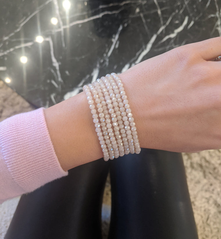 Pink Rosé Crystal Seven Wrap Bracelet & Necklace