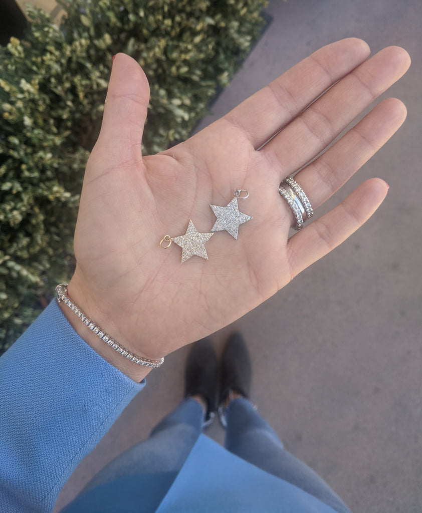 White Gold Diamond Jumbo Star Charm