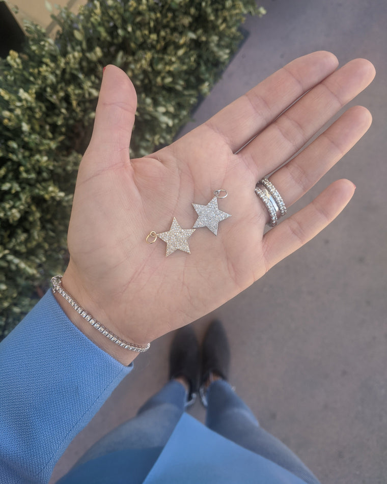 Gold Diamond Jumbo Star Charm