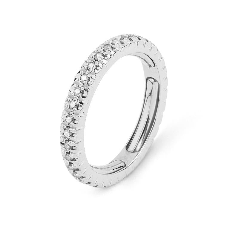 White Gold Four Prong Diamond Eternity Adjustable Band 6.5 - 7.5