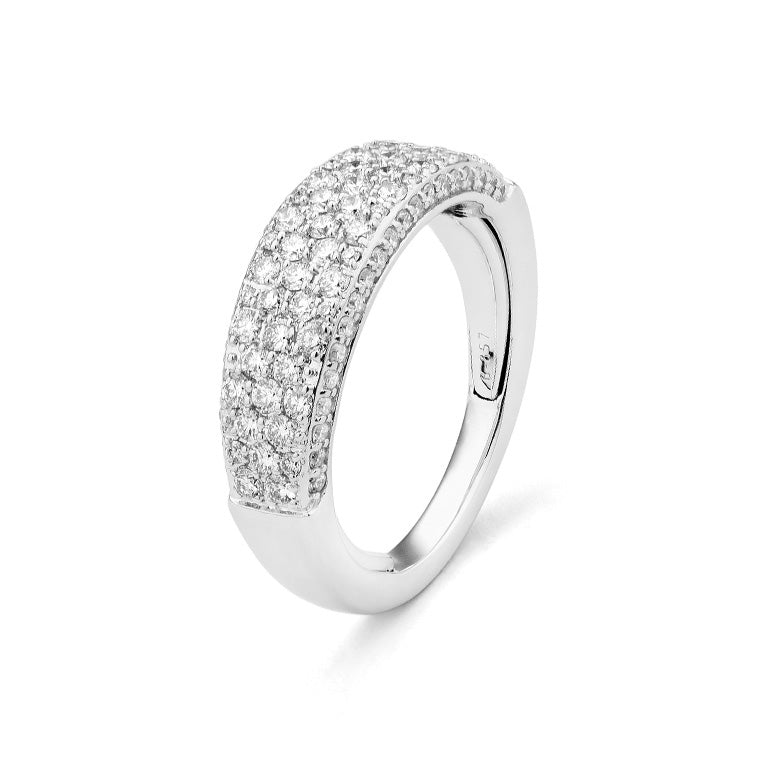 White Gold Diamond Flat Top Band