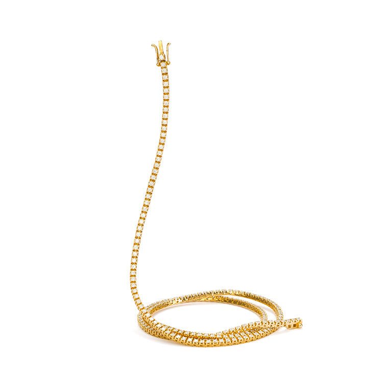 All The Way Yellow Gold Yellow Diamond Tennis Necklace