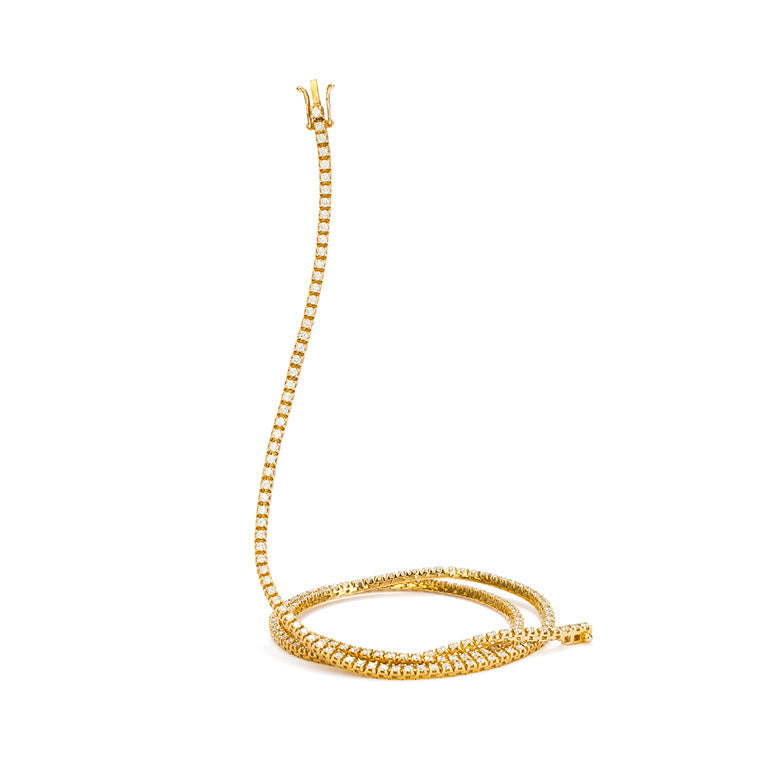 "All The Way Yellow Gold 3.25cts Diamond 18"" Tennis Necklace"