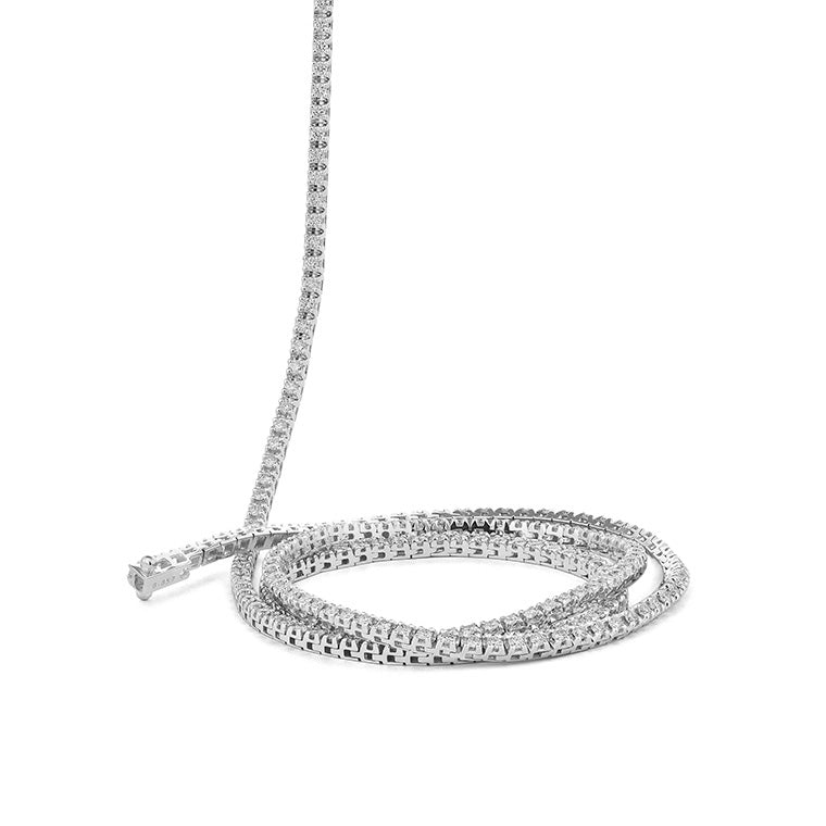 "All The Way White Gold 11.25cts Diamond 36"" Tennis Necklace"