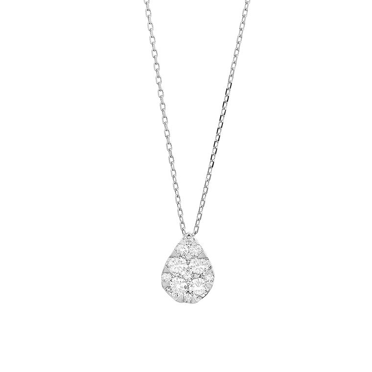 Pave Diamond Slide Medium Pear Necklace