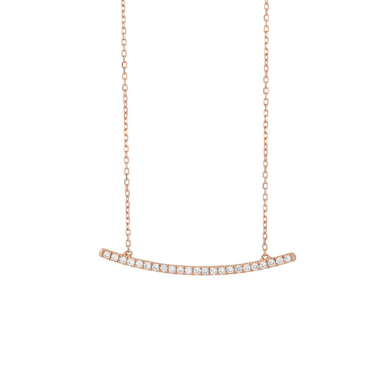 Rose Gold Pave Diamond Bar Pendant