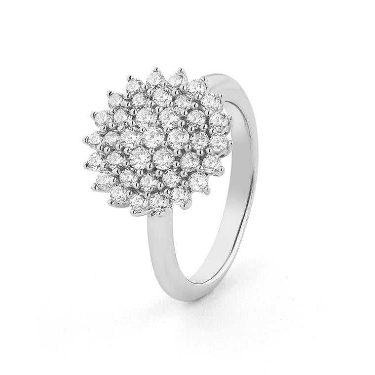 White Gold Pave Flower Diamond Ring 1.15cts Size 6.75