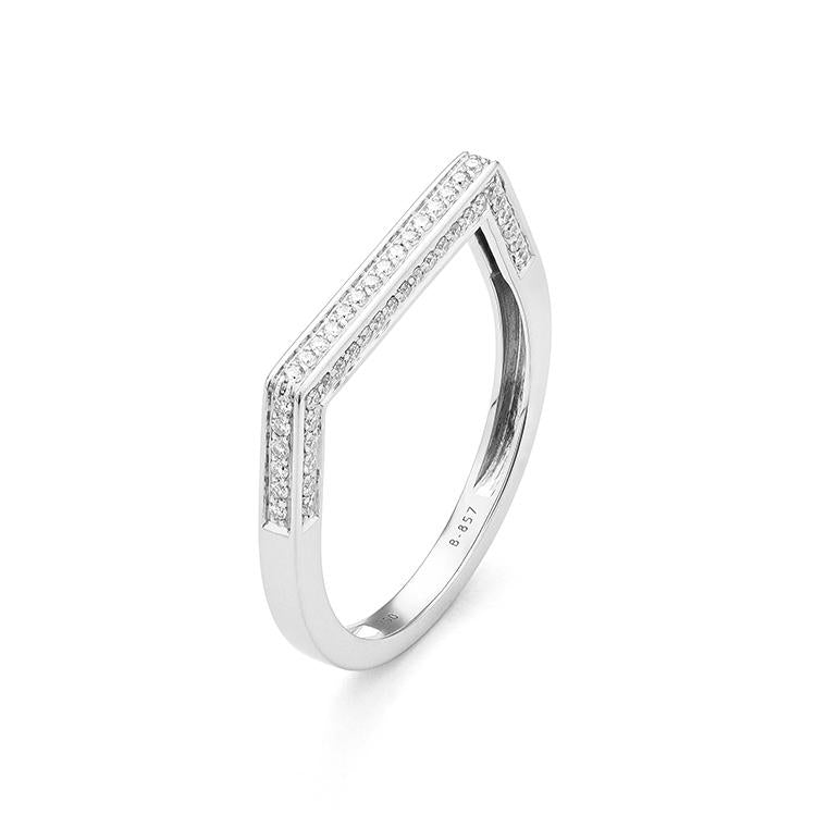 White Gold Flat Top Diamond Band