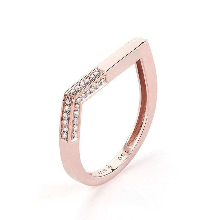 Rose Gold Flat Top Corner Diamond Band