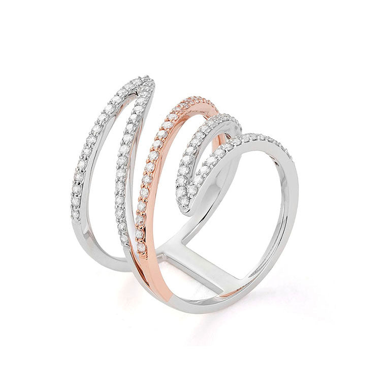 Two Tone Gold Free Form Diamond Ring