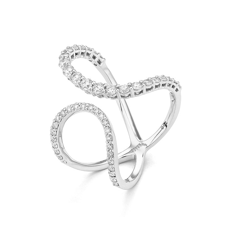 White Gold Pave Diamond Twist Cocktail Ring