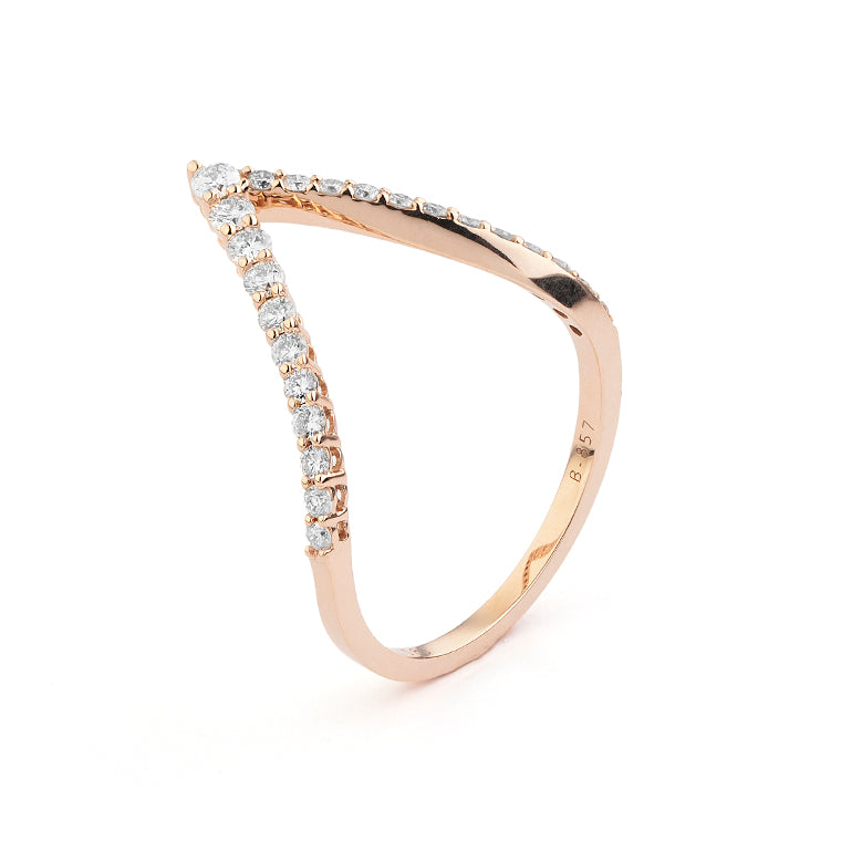 Rose Gold and Diamond Arrow Ring Size 6.75