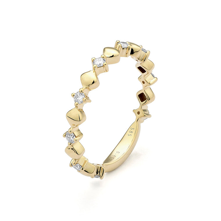 Yellow Gold Diamond Rhombus Stackable Ring
