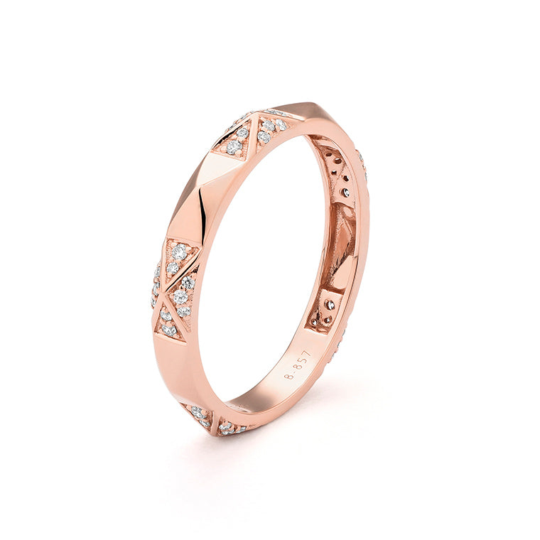 Rose Gold and Diamond Pyramid Band