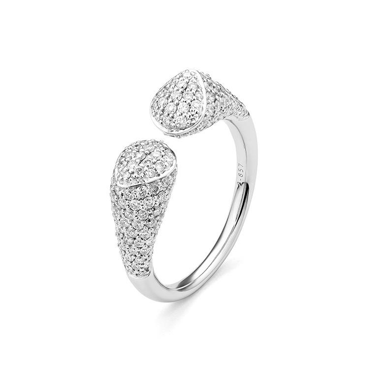 White Gold Pave Diamond Open Ring 1.25cts Size 6.75