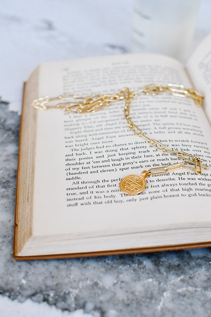 Gold Good Health Coin and Chain Pendant Short Necklace